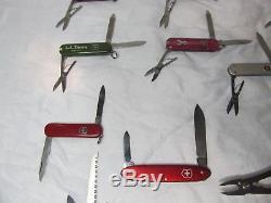 21 Pc Swiss Army Knife Lot Rolex Logo Tinker Deluxe Midnight Minichamp Huntsman