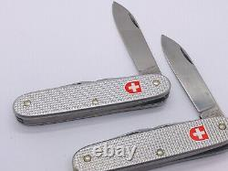 2x lot Victorinox ALOX 2002/ 2003 Ribbed Pioneer Silver Swiss Army Knife 93MM