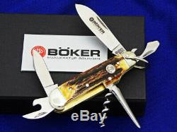 Boker Knives Knife Pocket Stag Camp Folding Scout Solingen German Swiss Army