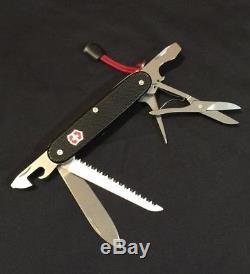 Custom Black Alox Farmer Swiss Army Knife Mod with Clip And Scissors (Used)
