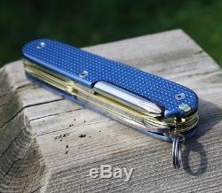 Custom Victorinox Alox Blue Textured Titanium Super Tinker