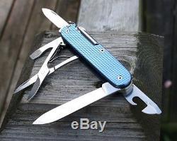 Custom Victorinox Alox Blue Textured Titanium Super Tinker Swiss Army Knife Mod