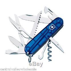 LOT OF 3 New Victorinox Swiss Army BLUE Knives SWISSCHAMP, HUNTSMAN, CLASSIC