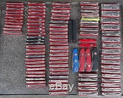 Lot of 100 Victorinox or Wenger Swiss army knife, better material, 19+ lbs