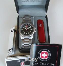 MeN NOS WENGER Swiss Army SAK TITANIUM 4 HaNd DUAL TIME GMT FIELD+KNIFE=Gift SET