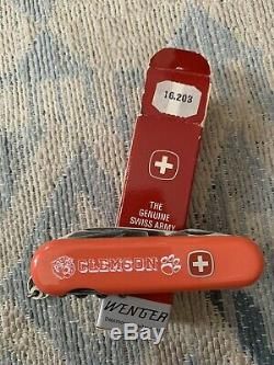 NIB Clemson Tigers Orange Wenger Swiss Army Knife Collegiate RARE HTF VTG 1980s