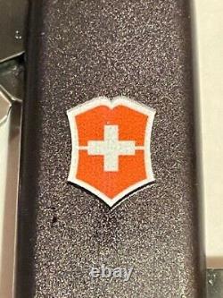 NIB Rare Victorinox Swiss Army Spartan PS Black Knife withOrange SA logo inlay