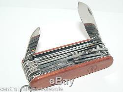 New Victorinox Swiss Army 91mm Knife Hardwood SWISSCHAMP & Leather 53526 P