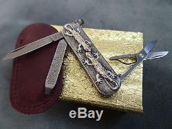STERLING SILVER. 18k GOLD Victorinox Swiss Army Folding Knife Handmade Geckos