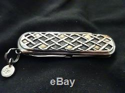 STERLING SILVER. 18k GOLD Victorinox Swiss Army Pocket folding knife. Handmade