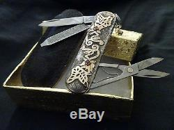 STERLING SILVER. 18k GOLD! Victorinox Swiss Army folding knife. NEW. HANDMADE