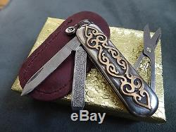 STERLING SILVER and 3.44 grams of 18k GOLD! Swiss Army Knife. NEW. HANDMADE