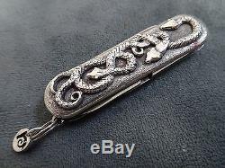 STERLING Silver. 18k GOLD Victorinox Swiss Army Folding Pocket Knife. Handmade