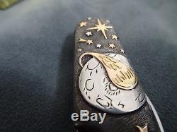 Sterling Silver 18k Gold Swiss Army Folding Knife. Lg. Victorinox SPACE. Gems
