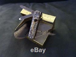 Sterling Silver. 18k Gold Swiss army Folding pocket Knife. Handmade SPACE Ruby