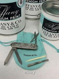Tiffany&Co Sterling Swiss Army Knife Silver with Engraved Leaves 2002