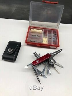 Victorinox Original Swiss Army Knife With Leather Case And Small Parts Box
