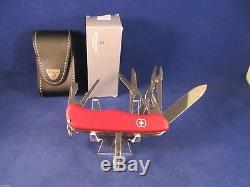 Victorinox Swiss Army Work Champ Pocket Knife & Leather Sheath (Red) Mint In Box