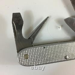 Vintage Victorinox Swiss Army Pocket Knife Metal Silver Ribbed Elinox ALOX Pione