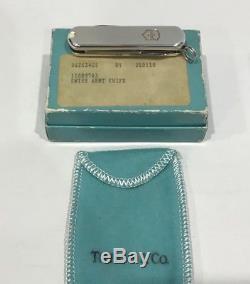 Vtg Tiffany & Co. 18K & Sterling Silver 750 & 925 Swiss Army Pocket Knife with Box