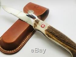 Wenger Ranger 151 HORNE one-hand 130MM semi serrated Swiss Army Knife + Sheath