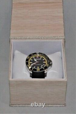 Wenger Sea Force 01.0641.101 Swiss Army Knife Watch Black Strap Yellow Accents